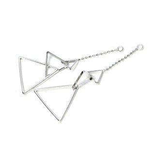 【2個入り】揺れる華奢な大きさ違いの三角形チェーン付き光沢シルバーチャーム、ペンダント
