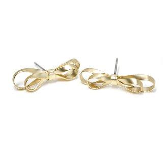 【1ペア】チタン芯!Double Ribbonリボンモチーフのマッドゴールドピアス