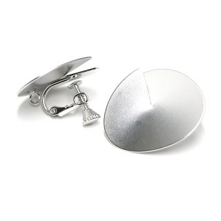 【1ペア】立体&ふっくらとした円形マッドシルバーネジバネ&カン付きイヤリング、パーツ