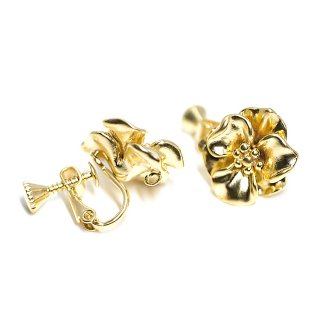 【1ペア】立体感あるFancy Flowerマッドゴールドネジバネ&カン付きイヤリング、パーツ
