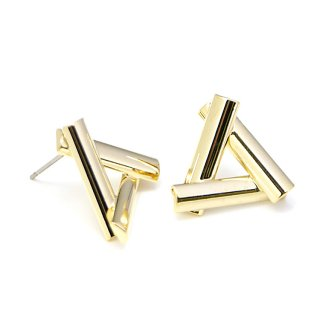 【1ペア】チタン芯!LUXU〜ボリューム三角形光沢ゴールドピアス、パーツ