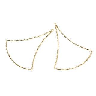 【2個入り】華奢で揺れるような大ぶりSwing Drop Triangleゴールドチャーム、ペンダント