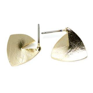 【1ペア】チタン芯!左右!立体的な3D三角形ゴールドピアス、パーツ
