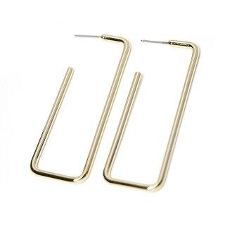 【1ペア】チタン芯!光沢ゴールド大ぶり約64mmロングスクエア形ピアス、パーツ
