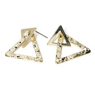 【1ペア】チタン芯!光沢ゴールドDouble Triangleピアス、パーツ