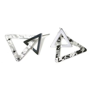 【1ペア】チタン芯!光沢シルバーDouble Triangleピアス、パーツ