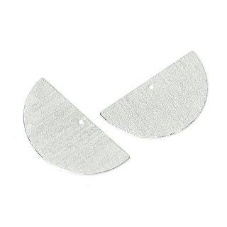 【2個入り】両面に質感ある光沢シルバー約25mmハーフサークル形チャーム、パーツ