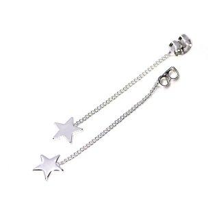 【4個入り】揺れる星STAR光沢シルバーチェーン付きピアスキャッチ、装飾、パーツ