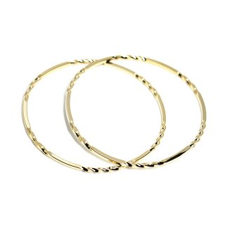 【1個】重量感あるツイストツイストシンプル約69mm光沢ゴールドバングル、パーツ