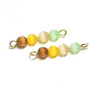【2個入り】イエロー系4色キャッツアイ(天然石)円形ゴールド両カンチャーム、パーツ