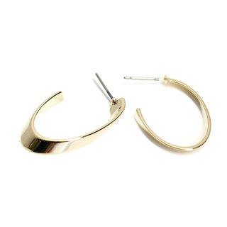【1ペア】左右&チタン芯!優美な曲線カーブオーバル形光沢ゴールドピアス、パーツ