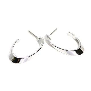 【1ペア】左右&チタン芯!優美な曲線カーブオーバル形光沢シルバーピアス、パーツ