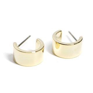 【1ペア】チタン芯!キュート&ボリューム&ハーフサークル形光沢ゴールドピアス、パーツ