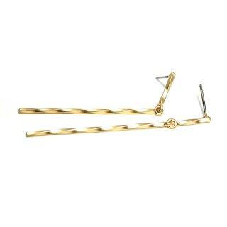 【1ペア】チタン芯!54mm 華奢に揺れるTwist Stickマッドゴールドピアス、パーツ