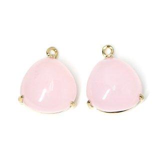 【2個入り】ボリューム!約11mm Sakura Pinkカラーガラスの三角形ゴールドチャーム、パーツ