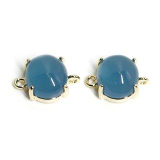 【2個入り】ボリューム!Indigo Blueカラーガラスの楕円形ゴールドコネクター、パーツ