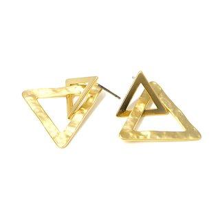 【1ペア】チタン芯!マッドゴールドDouble Triangleピアス、パーツ