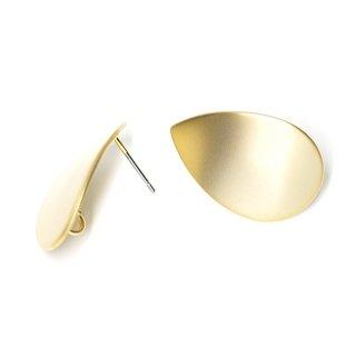 【1ペア】チタン芯!マッドゴールド約25mm曲線しずく形カン付きピアス、パーツ