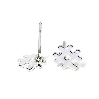 【1ペア】チタン芯!キュートでユニークな#モチーフの光沢シルバーピアス、パーツ