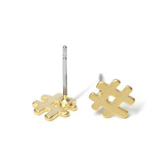 【1ペア】チタン芯!キュートでユニークな#モチーフのマットゴールドピアス、パーツ