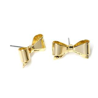 【1ペア】チタン芯!光沢ゴールド立体的な17mmリボンモチーフピアス、パーツ