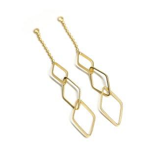 【2個入り】揺れる華奢な大きさ違いのダイヤモンド形チェーン付きマットゴールドチャーム、ペンダント