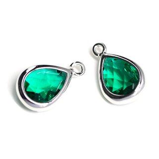【2個入り】EmeraldカラーガラスTiny Drop形シルバーチャーム NF