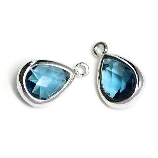 【2個入り】Royal BlueカラーガラスTiny Drop形シルバーチャーム NF