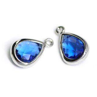 【2個入り】Blue SapphireカラーガラスTiny Drop形シルバーチャーム NF
