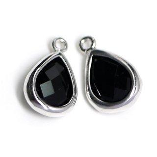 【2個入り】Onyx BlackカラーガラスTiny Drop形シルバーチャーム NF
