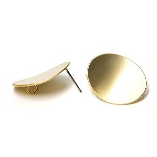 【1ペア】チタン芯!マットゴールド22mmオーバル形カン付きチタン芯ピアス