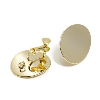 【1ペア】光沢ゴールド22mmオーバル形ネジバネ&カン付きイヤリング、パーツ