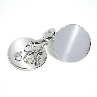 【1ペア】光沢シルバー約20mm曲線サークル形ネジバネ&カン付きイヤリング