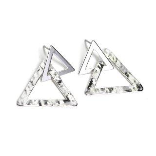 【1ペア】チタン芯!マットシルバーDouble Triangleピアス、パーツ