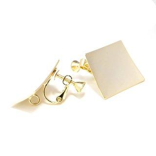 【1ペア】光沢ゴールド約18mm曲線スクエア形ネジバネ&カン付きイヤリング、パーツ