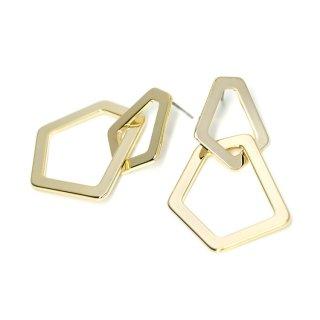 【1ペア】チタン芯!重なった大ぶり不規則なフレームの光沢ゴールドピアス