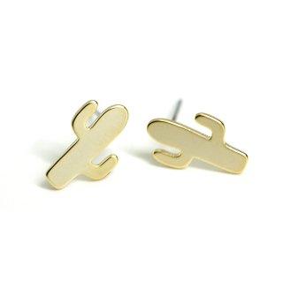 【1ペア】チタン芯!キュートなサボテンCactusモチーフマットゴールドカン付きピアス、パーツ