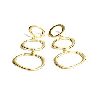 【1ペア】左右&925刻印芯!揺れる大ぶり不規則なTrio Oval形マットゴールドピアス、パーツ