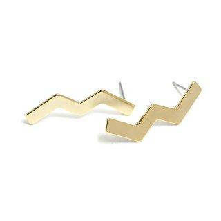 【1ペア】チタン芯!ユニークな雷モチーフのマットゴールドピアス、パーツ