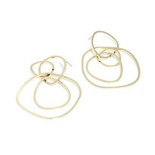 【1ペア】不規則な大ぶり!約59mm Four Rings光沢ゴールドピアス、パーツ