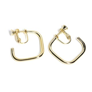 【1ペア】異なる左右カーブのスクエア形光沢ゴールドネジバネイヤリング、パーツ