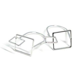 【1個】立体的なDUO Square光沢シルバーリング、パーツ