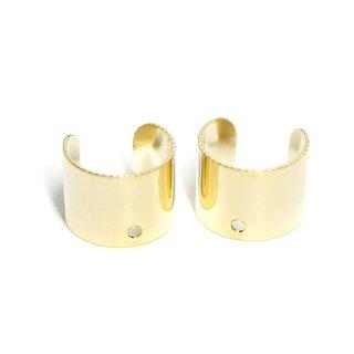 【1個】穴あり!8mmシンプルな光沢ゴールドイヤーカフ、パーツ