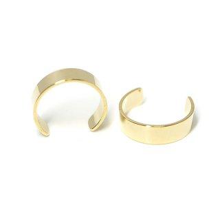 【1個】3mmシンプルな光沢ゴールドイヤーカフ、パーツ