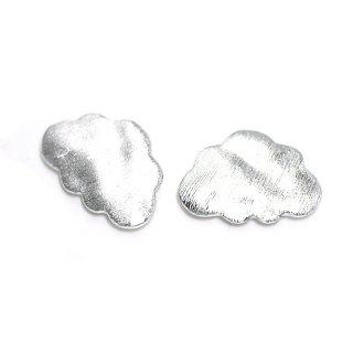 【2個入り】質感あるマットシルバーCloud 雲モチーフチャーム、パーツ