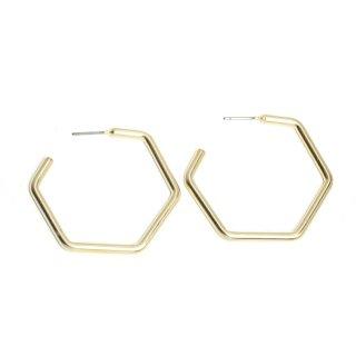 【1ペア】チタン芯!光沢マットゴールド大ぶり約37mm六角形ピアス、パーツ