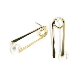 【1ペア】チタン芯!パール付きユニークなピンモチーフの光沢ゴールドピアス、パーツ