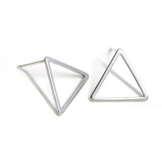 【1ペア】925刻印芯!15*1mm 三角形マッドシルバー、シルバー925芯ピアス、パーツ