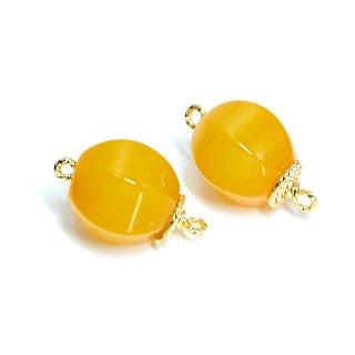 【1個】オレンジカラーAgate天然石両カン付きゴールドコネクター、チャーム