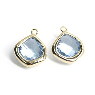 【2個入り】Light  Sapphireカラーガラス15mmマロン形ゴールドチャーム